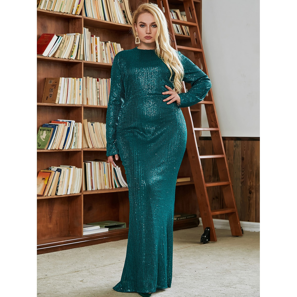 Plus Contrast Sequin Dress
