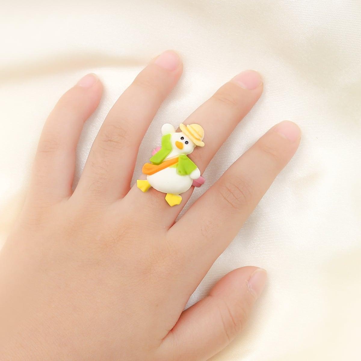 Открытое кольцо с рисунком утки для девочек