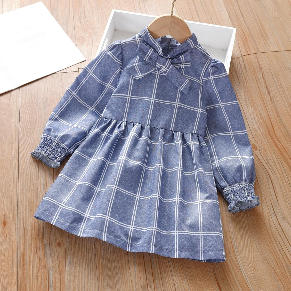 Toddler Girls Plaid Shirred Cuff Tie Neck Dress