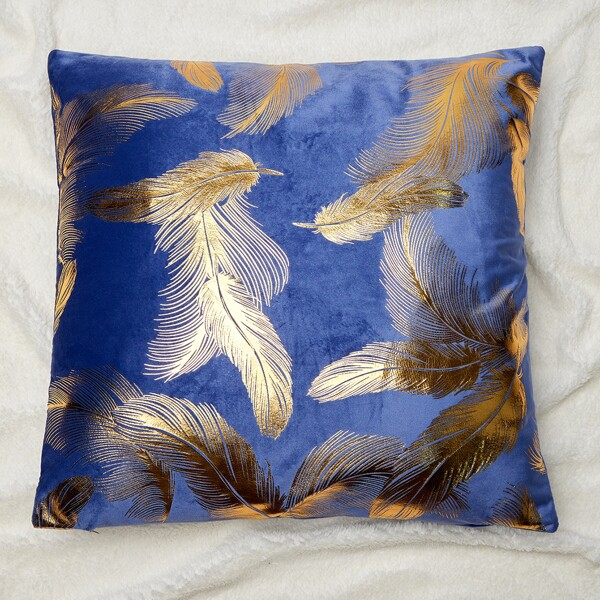 Hot Stamping Feather Cushion Cover Without Filler, Blue