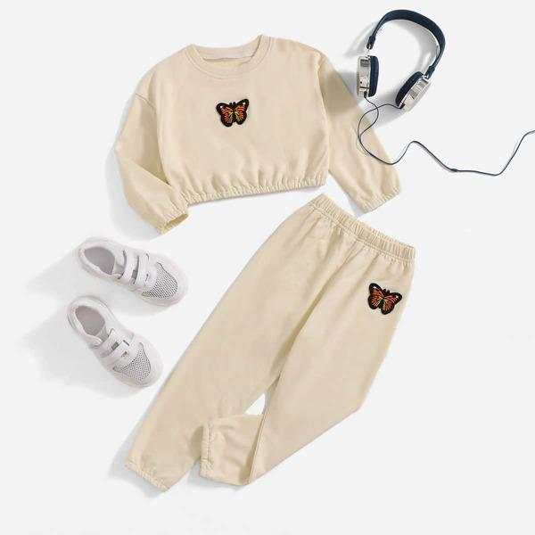 Toddler Girls Butterfly Patch Detail Drop Shoulder Sweatshirt & Sweatpants, Apricot