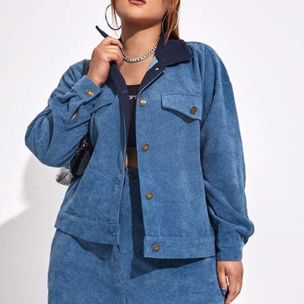 Plus Contrast Panel Flap Detail Drop Shoulder Corduroy Jacket, Dusty blue