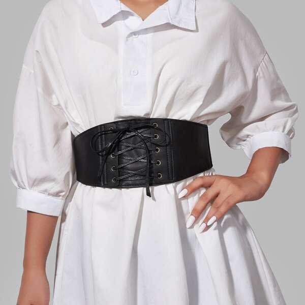 Lace Up Corset Belt, Black