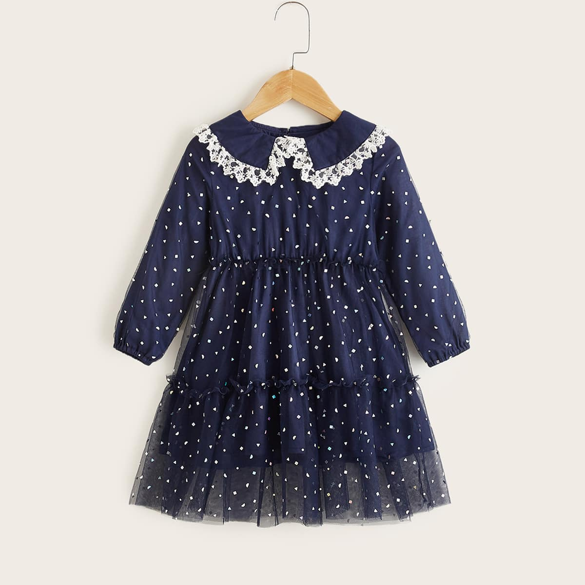 Toddler Girls Lace Detail Peter-pan Collar Mesh Hem Dress