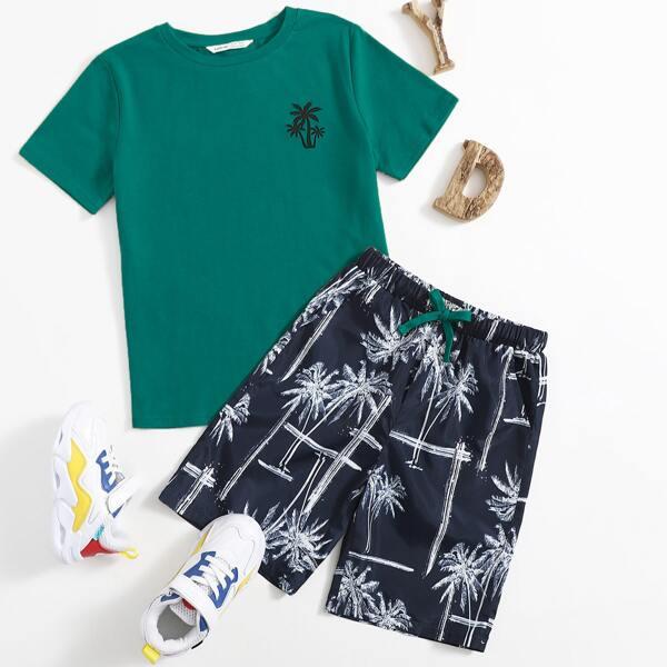 Boys Tropical Print Top & Shorts Set, Multicolor