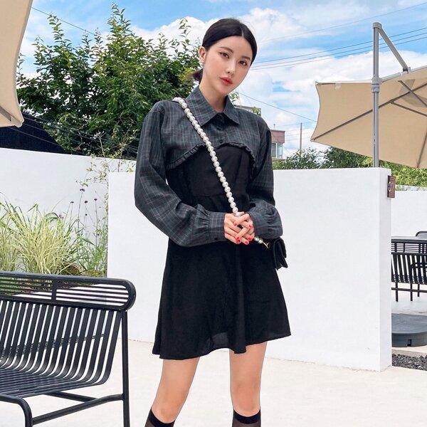 Adjustable Grommet Straps Dress & Plaid Crop Blouse, Black