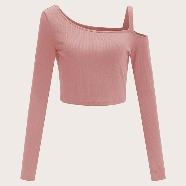 Asymmetrical Neck Cold Shoulder Rib-knit Top, Dusty pink