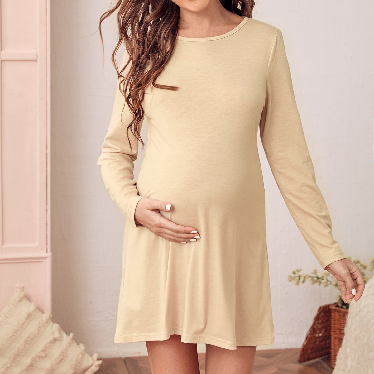 Ночная рубашка скруглымвырезом для беременных
