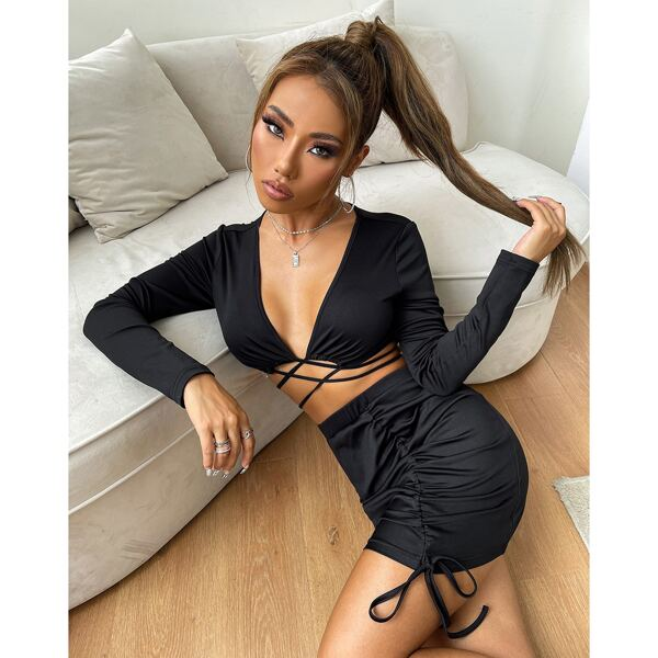 Crisscross Tie Back Crop Top & Drawstring Ruched Front Bodycon Skirt, Black