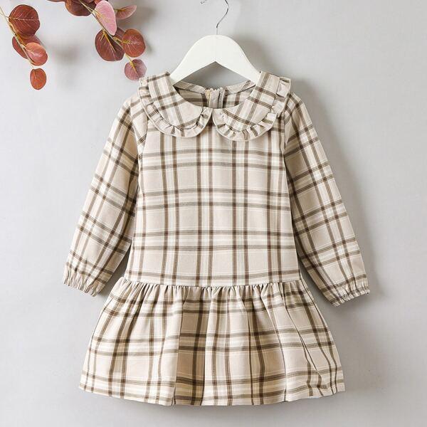 Toddler Girls Plaid Peter Pan Collar Ruffle Hem Smock Dress, Khaki