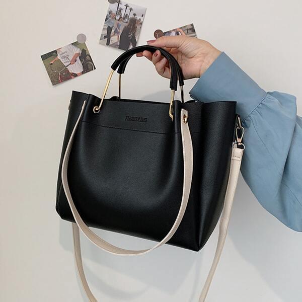 Minimalist Top Handle Bag, Black
