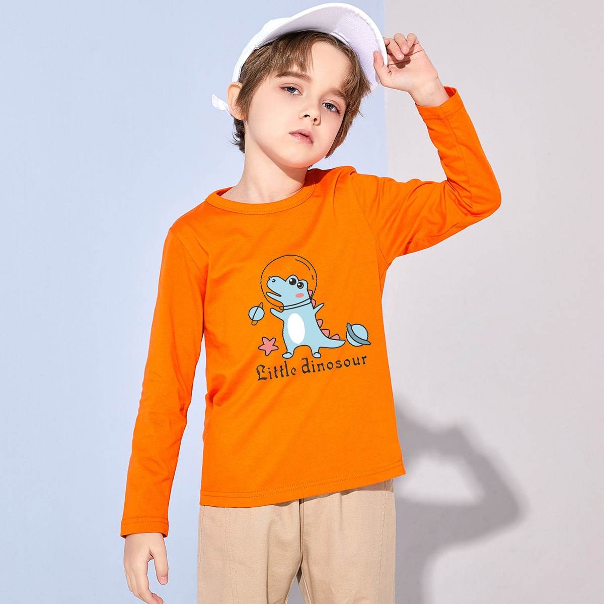 Boys Slogan & Crocodile Print Tee, SHEIN  - buy with discount