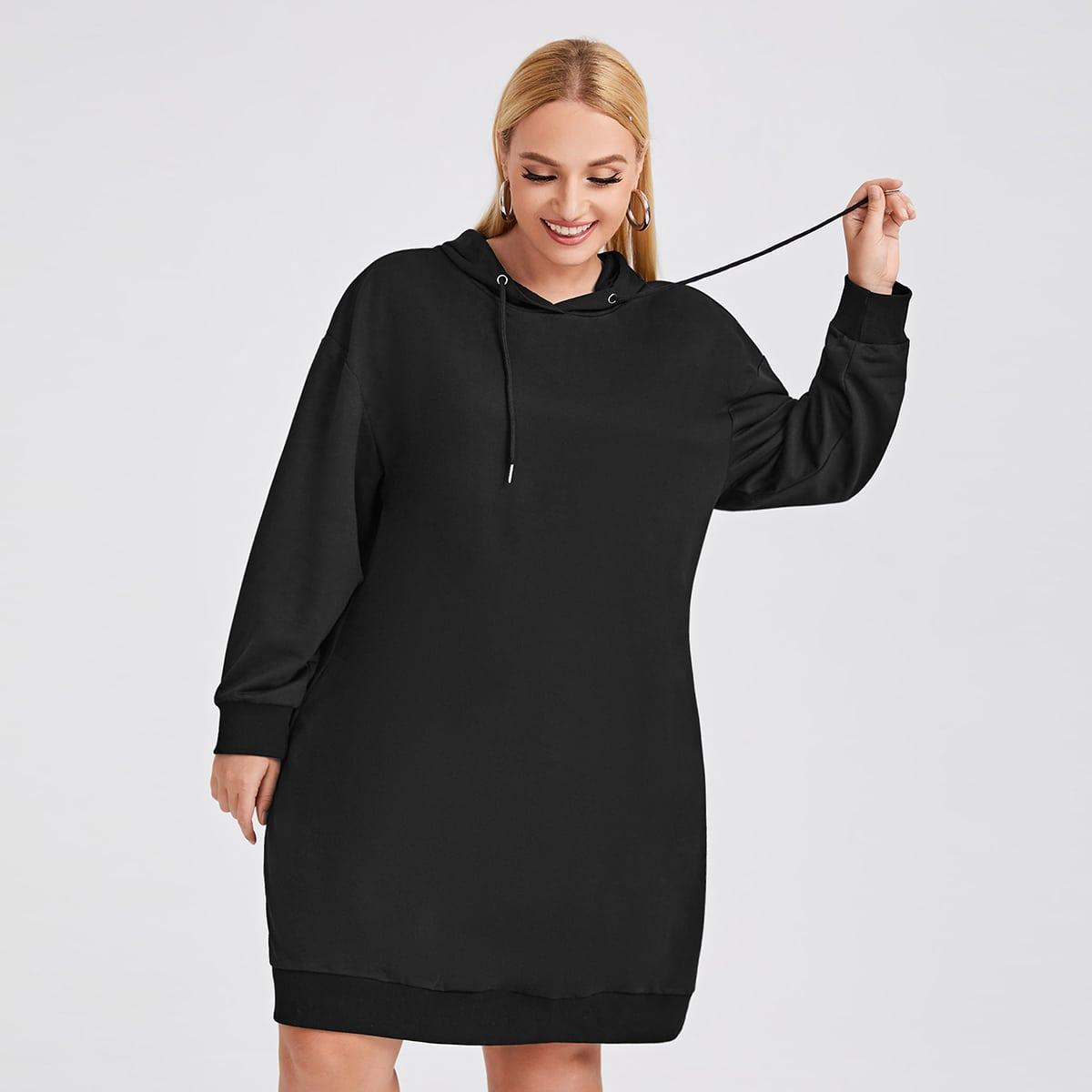 Plus Solid Drawstring Hoodie Dress