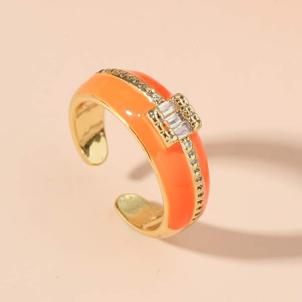 18K Gold Plated Zircon Decor Cuff Ring, Multicolor