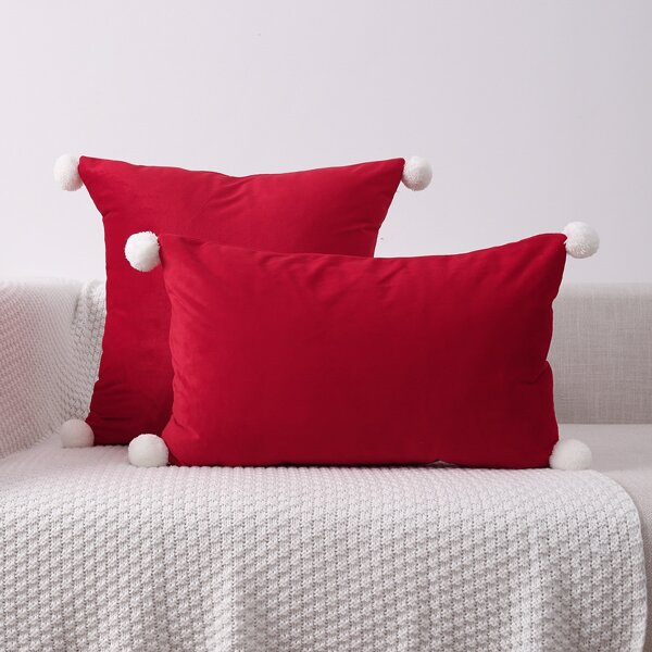 1pc Pom Pom Cushion Cover Without Filler, Red