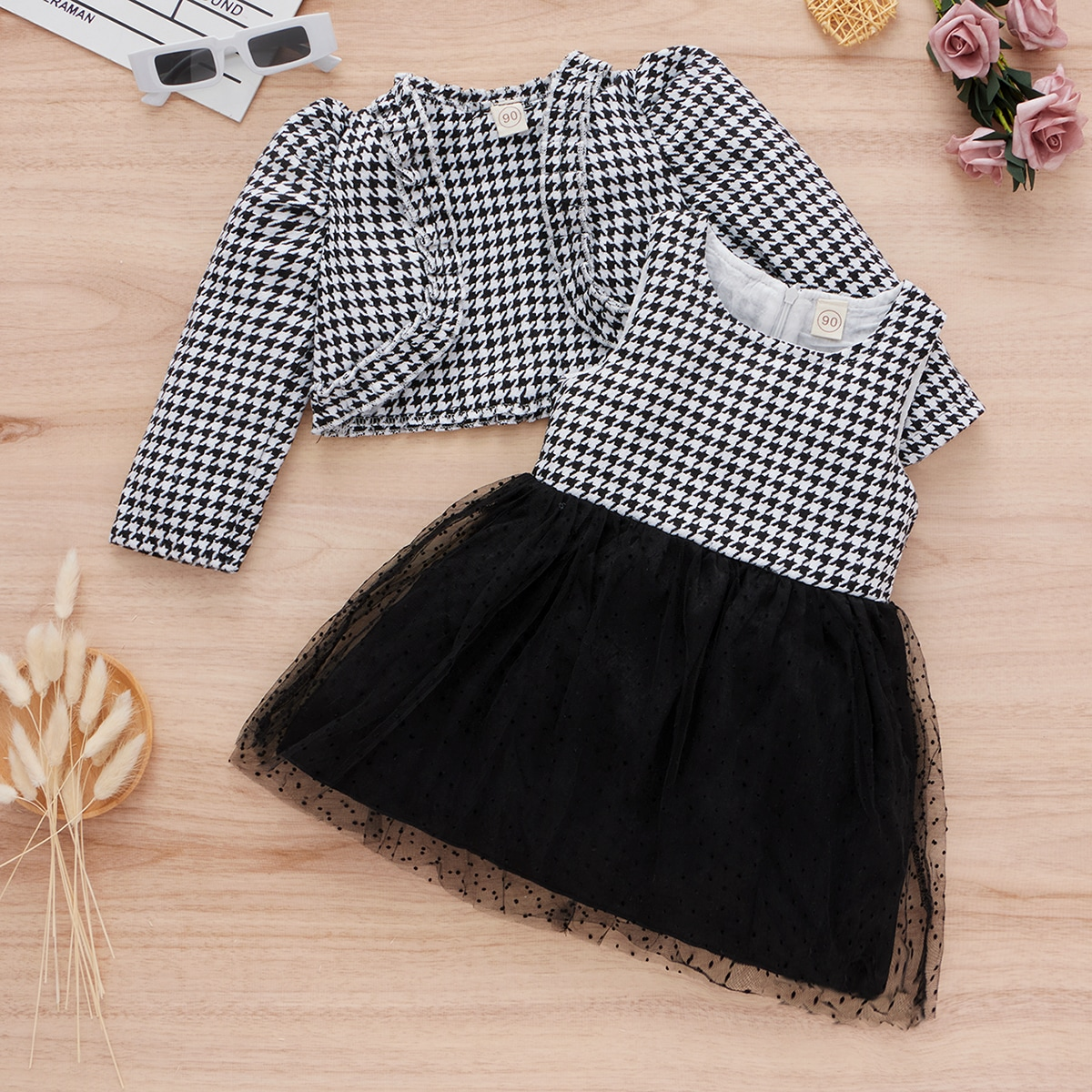 Toddler Girls Houndstooth Puff Sleeve Jacket With Mesh Combo Dress