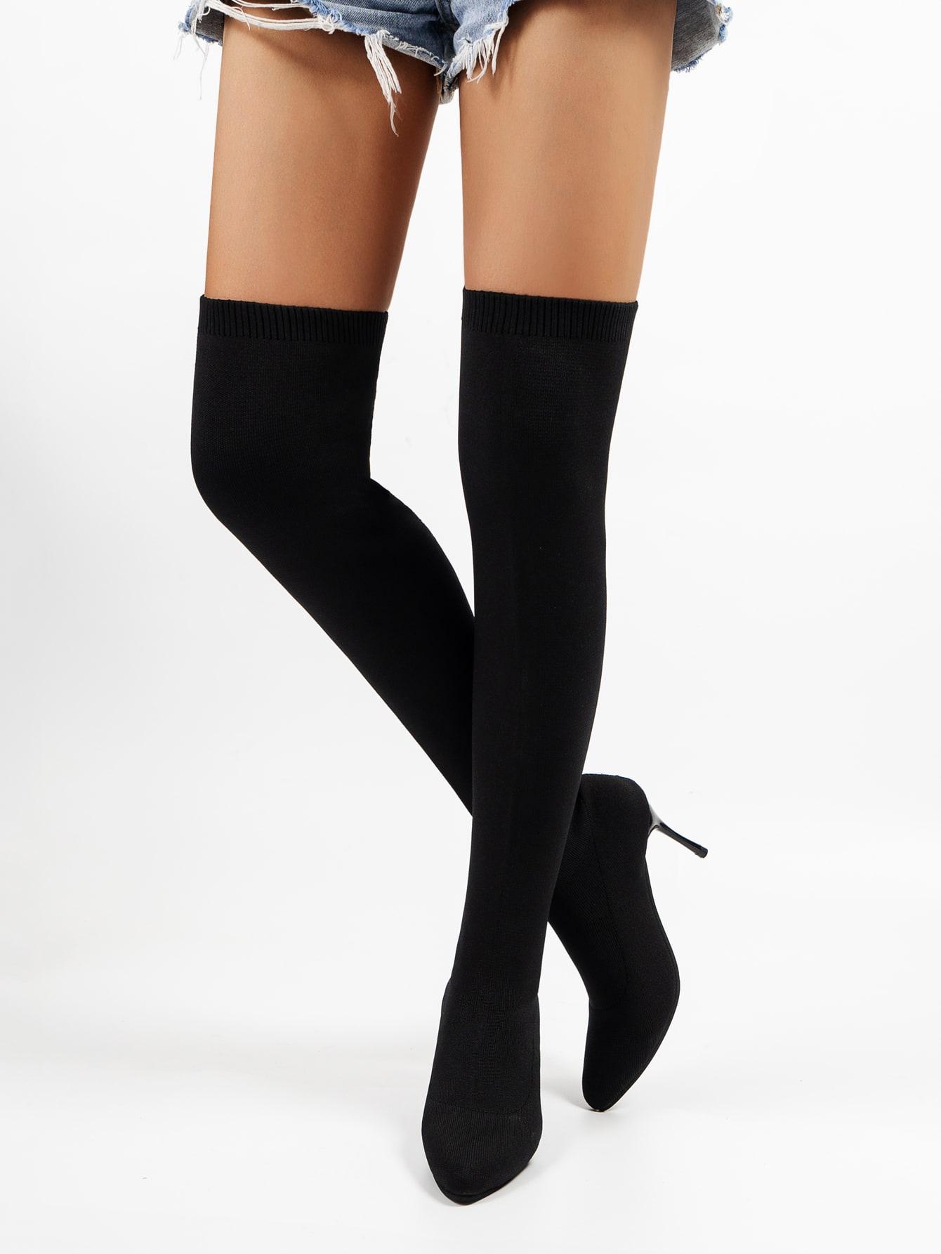 Minimalist Stiletto Heeled Sock Boots