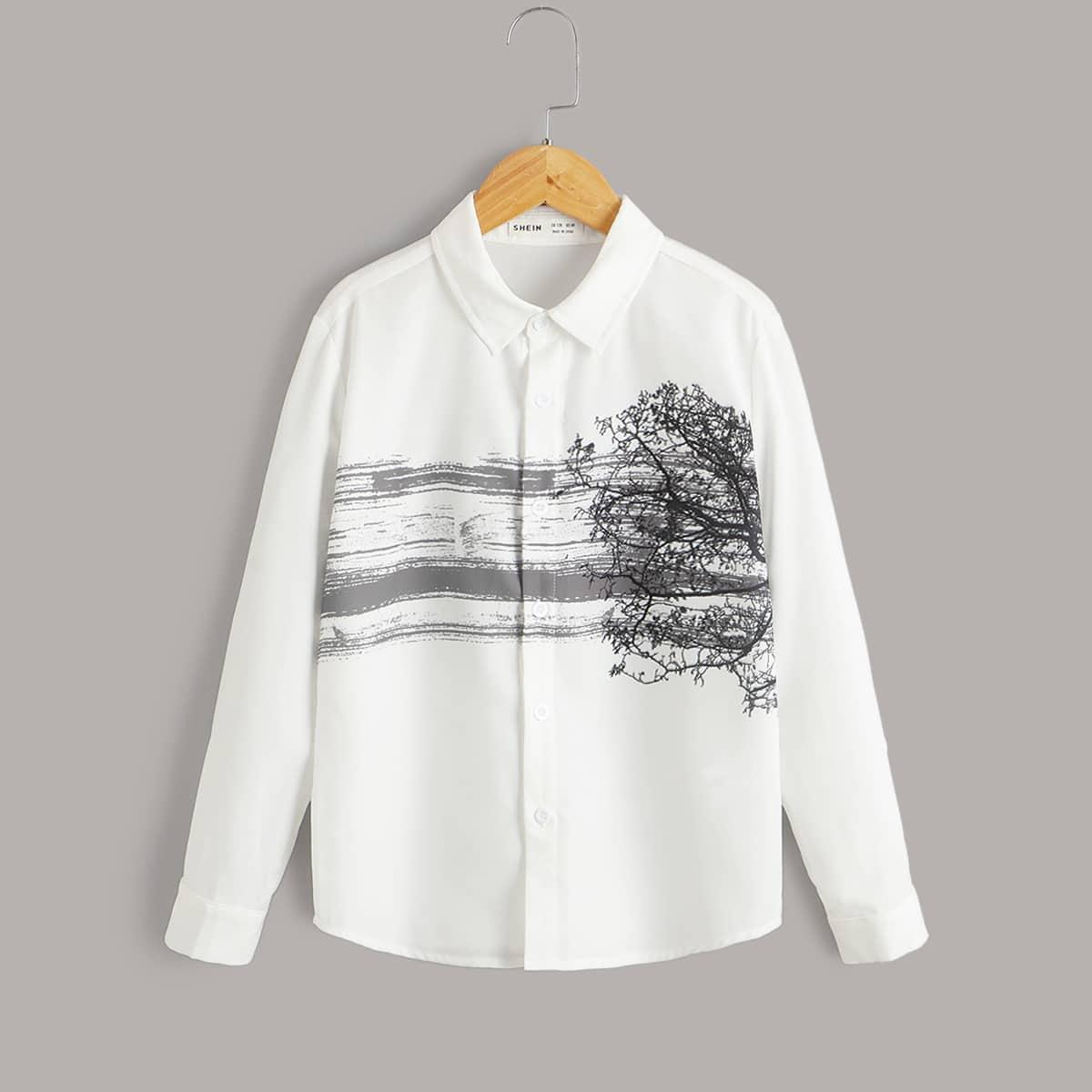Рубашка на пуговицах с принтом деревьев и кистей для мальчиков