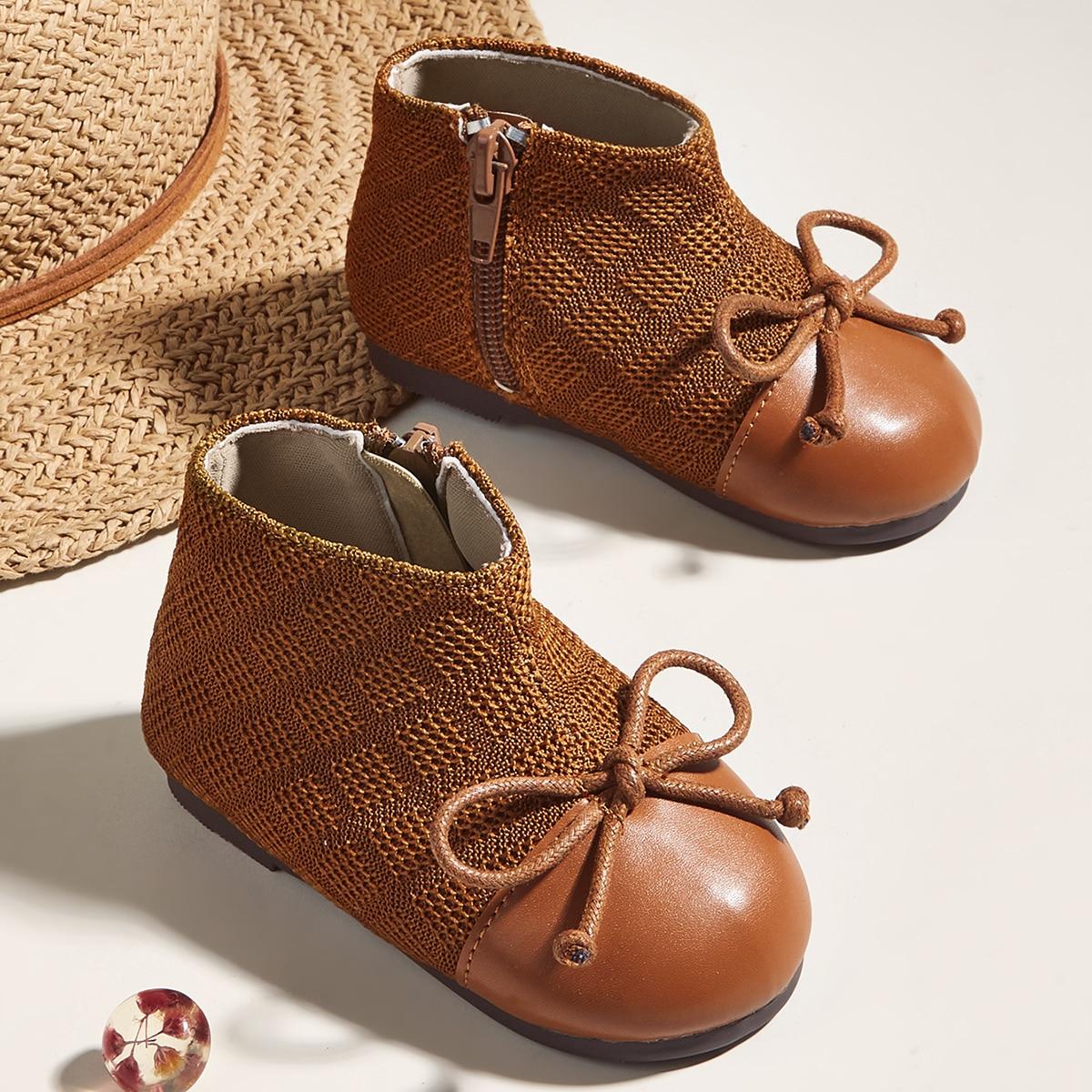 Ботинки с бантом на молнии для девочек SheIn sk2108054361421113