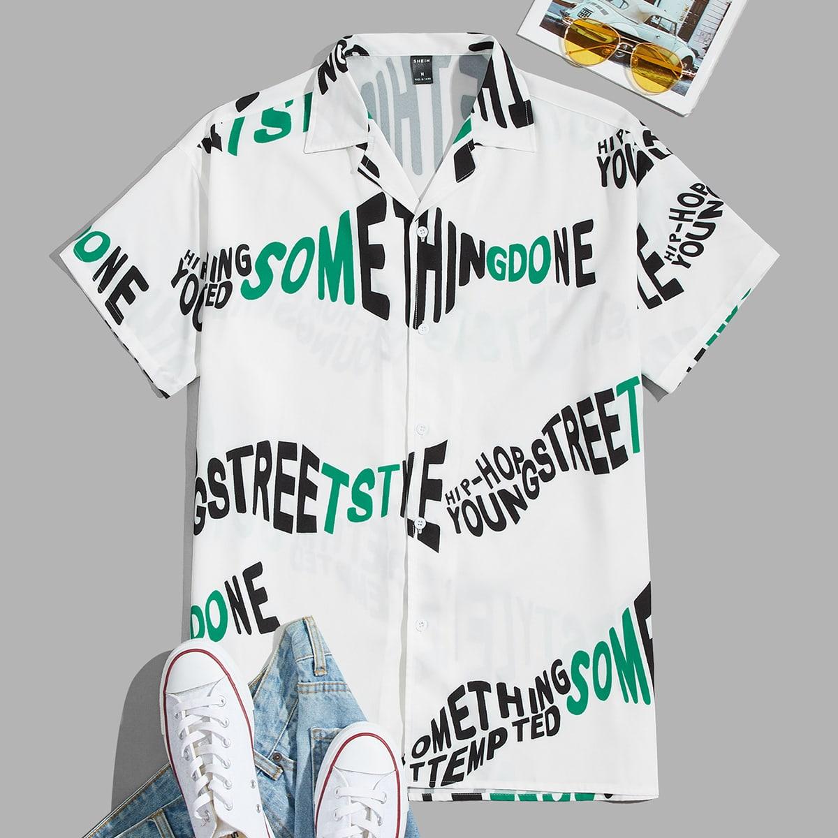 Мужская рубашка с текстовым рисунком на пуговицах