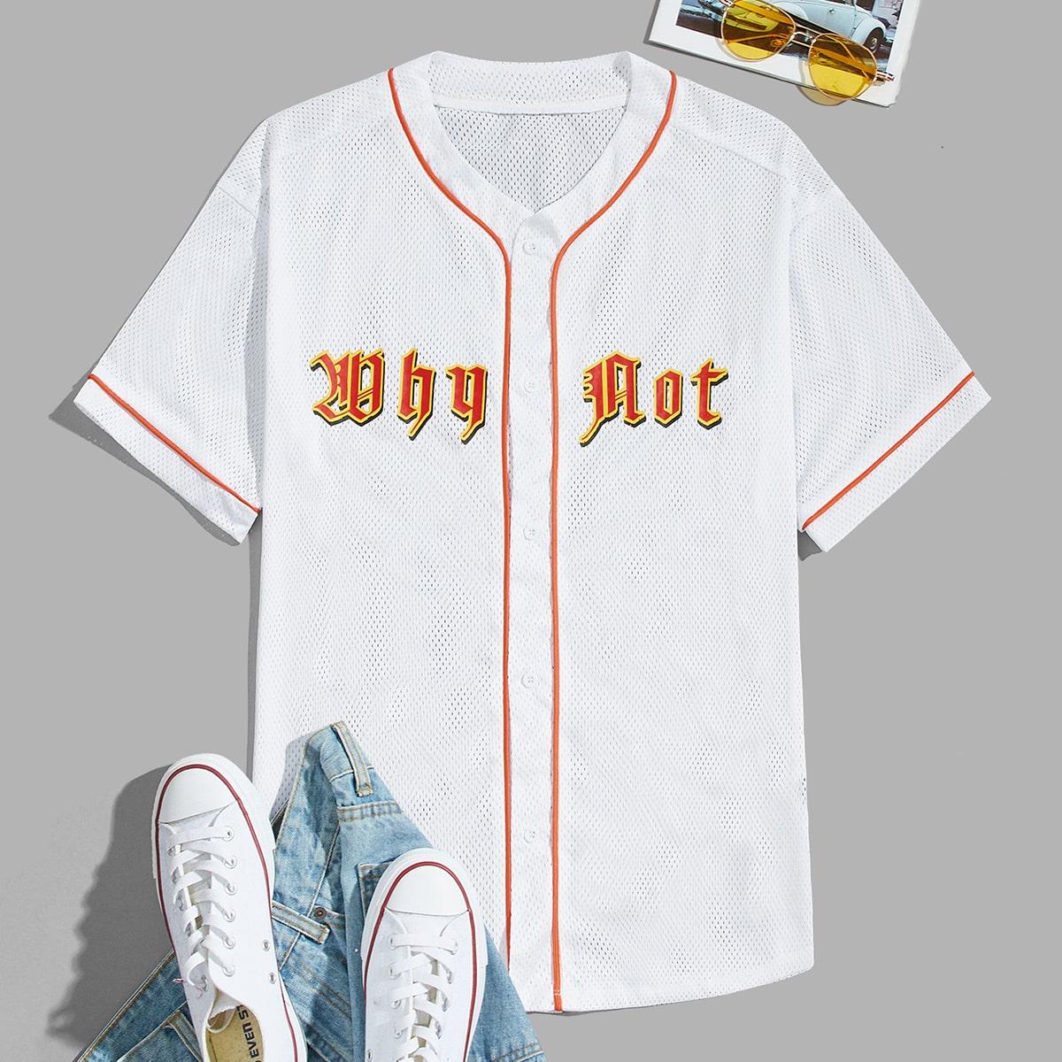 Мужская сетчатая рубашка с текстовым рисунком