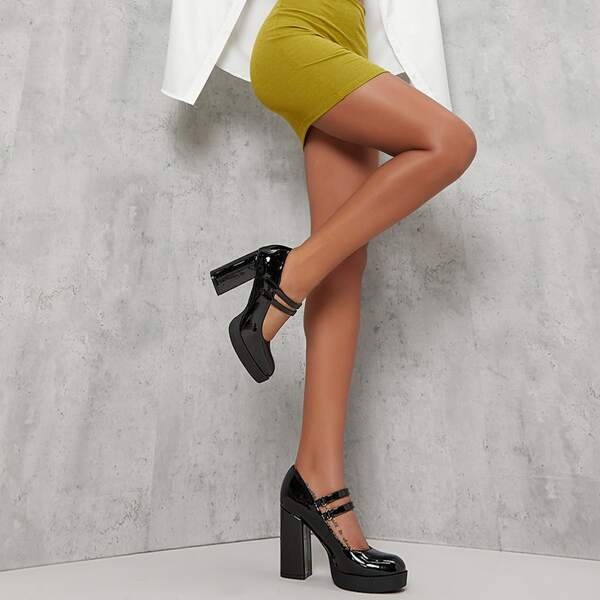 Faux Patent Leather Dual Strap Block Heel Mary Janes, Black