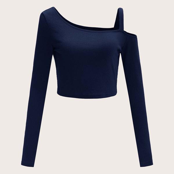 Asymmetrical Neck Cold Shoulder Rib-knit Top, Navy blue