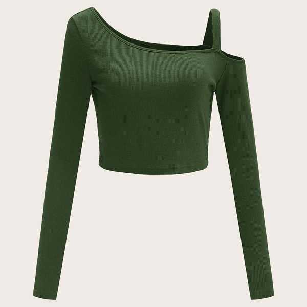 Asymmetrical Neck Cold Shoulder Rib-knit Top, Army green