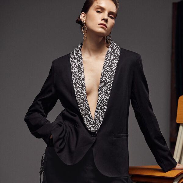 Graphic Print Shawl Collar Single Button Blazer, Black