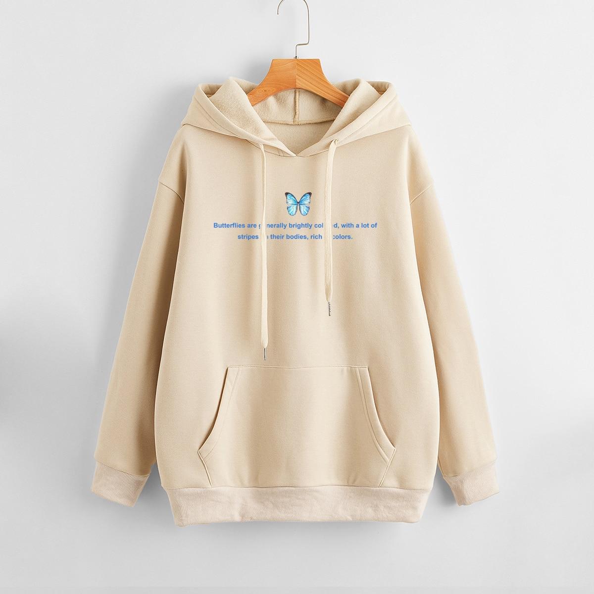 Sweat-shirt à capuche à doublure thermique à motif papillon et slogan