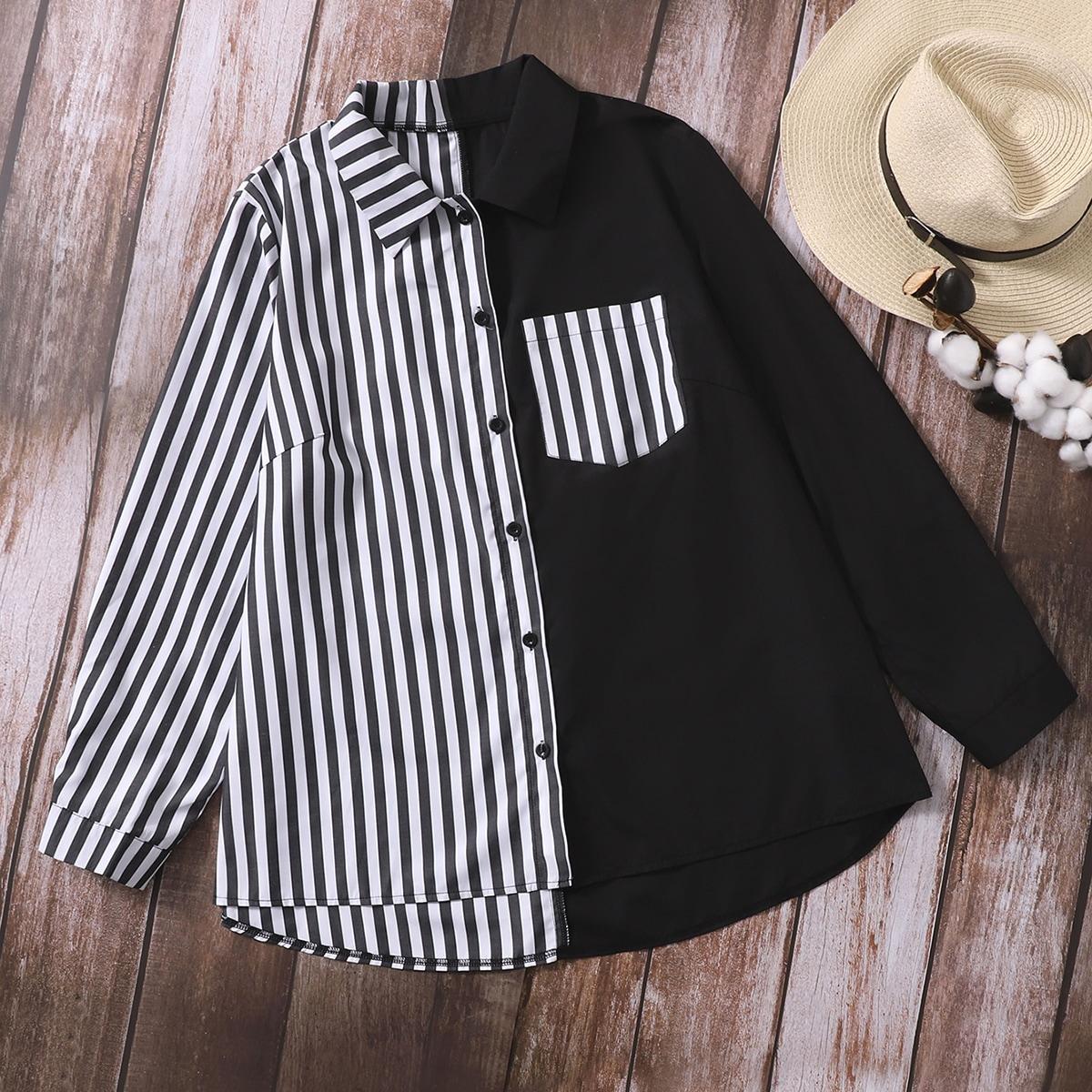 размера плюс Блуза в полоску с карманом