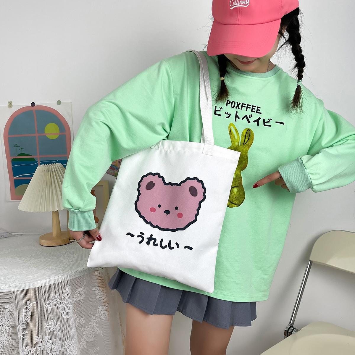 Сумка-шопер с японским текстовым принтом для девочек