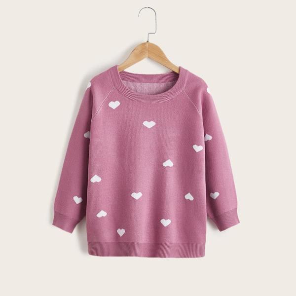 Girls Heart Pattern Raglan Sleeve Sweater, Dusty pink