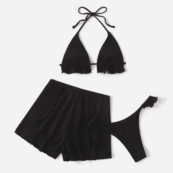 Ribbed Frill Trim Halter Triangle Bikini Swimsuit, Black