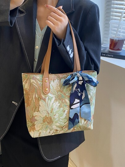 Twilly Scarf Decor Floral Pattern Shoulder Tote Bag