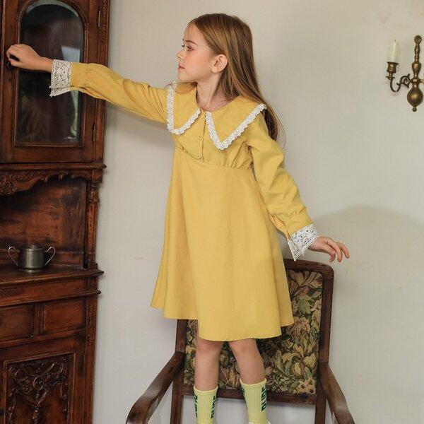 Girls Peter Pan Collar Guipure Lace Cuff Half Button Smock Dress, Yellow