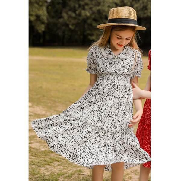 Girls Dalmatian Print Peter-pan Collar Shirred Frill Trim Chiffon Dress, White