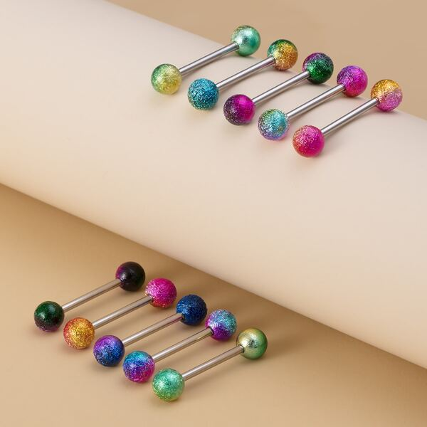 10pcs Round Ball Decor Tongue Barbell Ring, Multicolor