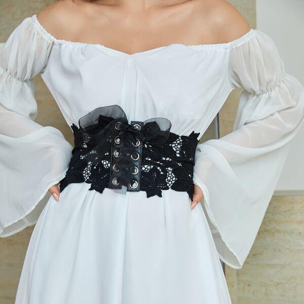 Flower Detail Lace-up Front Corset Belt, Black