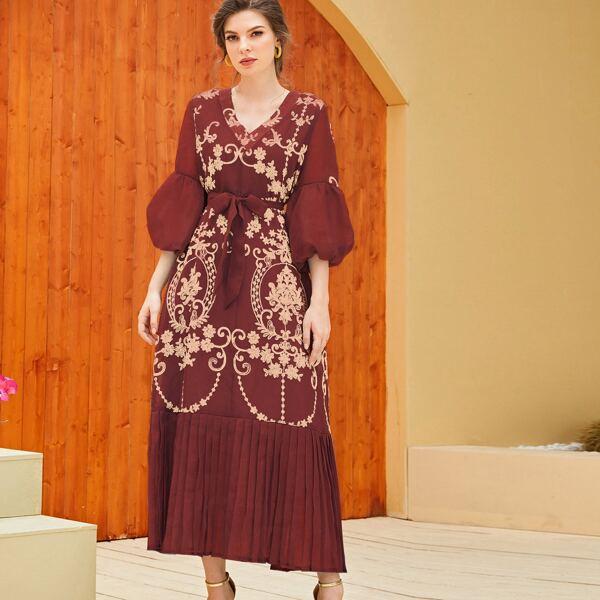 Baroque Embroidery Bishop Sleeve Belted Dress, Burgundy