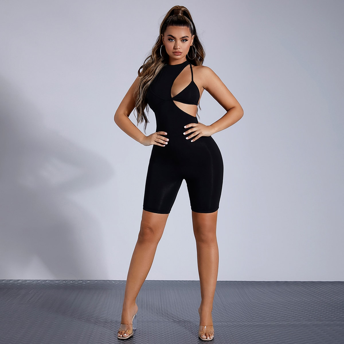 Solid Cut Out Romper With Bra