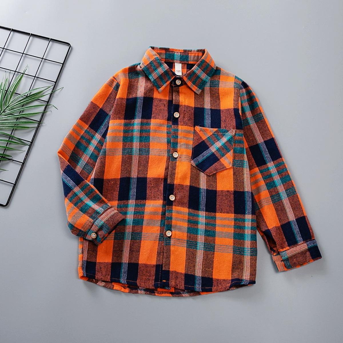 для мальчиков Рубашка в клетку заплатка с карманом