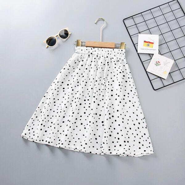 Girls Polka Dot Elastic Waist Skirt, White