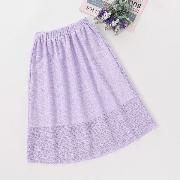 Girls Elastic Waist Lace Flare Skirt, Lilac purple