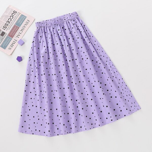 Girls Polka Dot Print Elastic Waist Skirt, Lilac purple