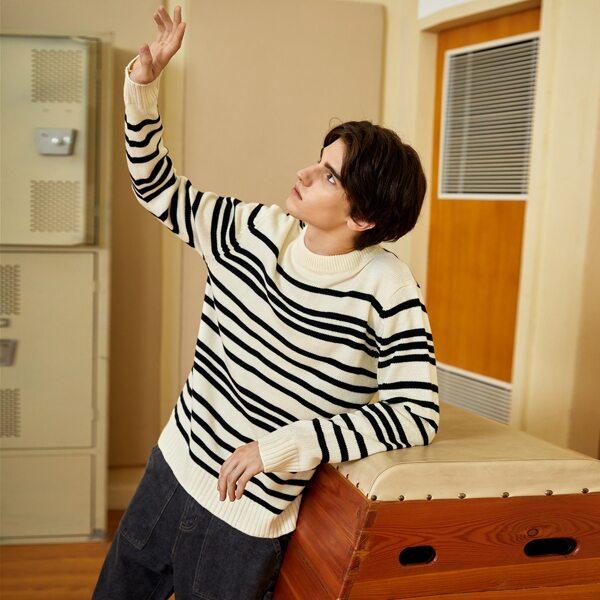 Men Stripe Pattern Round Neck Sweater, Multicolor