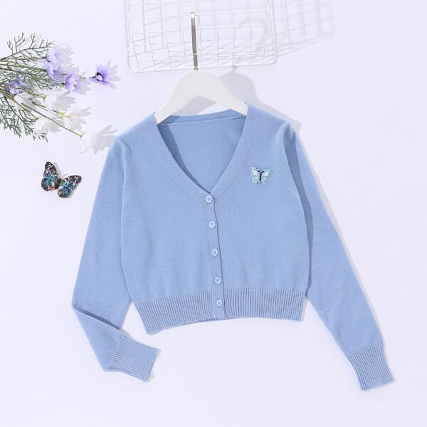 Girls Butterfly Embroidery Patched Cardigan, Dusty blue