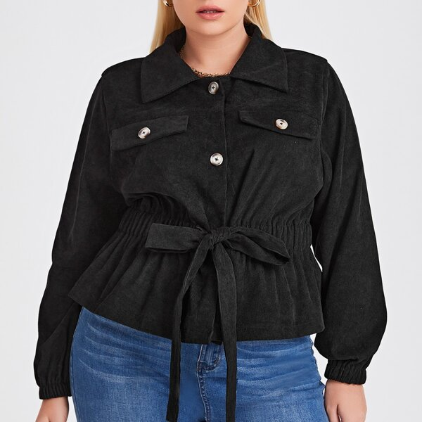 Plus Flap Detail Elastic Waist Tie Front Peplum Hem Corduroy Jacket, Black
