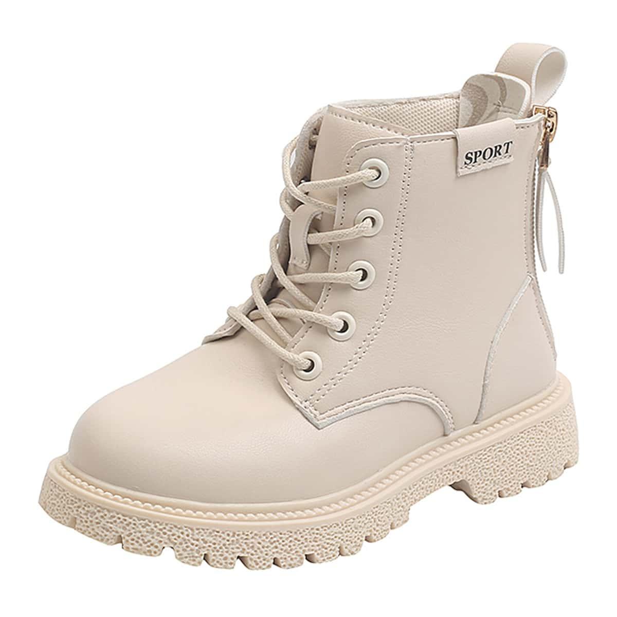 Ботинки комбат с текстовым принтом для девочек SheIn sk2108070318380038
