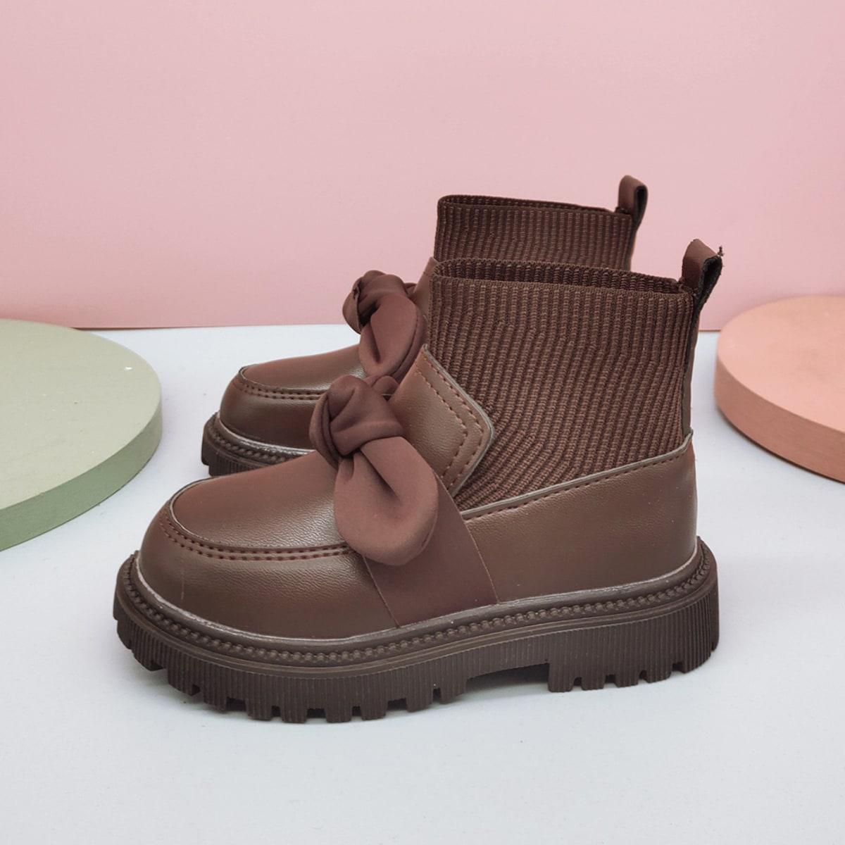 Ботинки с бантом для девочек SheIn sk2108086883463886